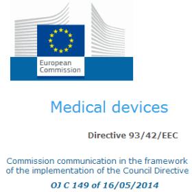 normes harmonisées 93/42/CEE 16/05/2014