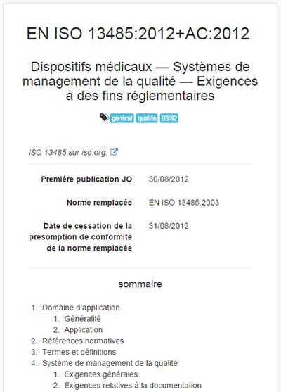 normes harmonisees 93/42/CEE - card