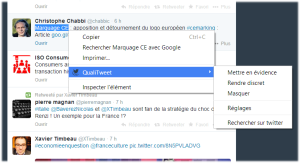 qualitweet twitter menu contextuel