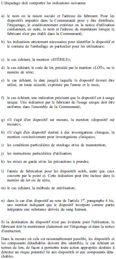 Exigences essentielles - 13-3 13-4 13-5 - Etiquetage