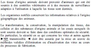 Exigences essentielles - 8-2 - Tissus origine animale