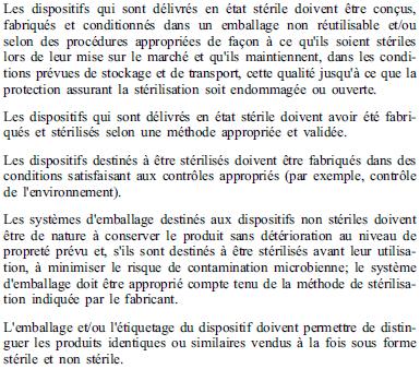 Exigences essentielles - 8-3 8-7 - DM stérile