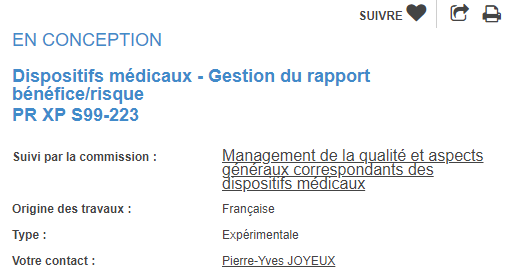 NF XP S99-223 gestion du rapport benefice risque dispositifs médicaux