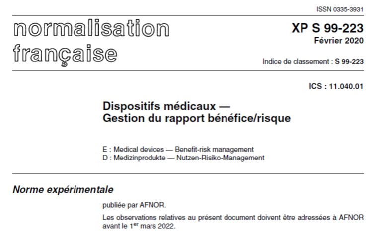 Summary of the XP S99-223 standard for managing the benefit/risk ratio of medical devices