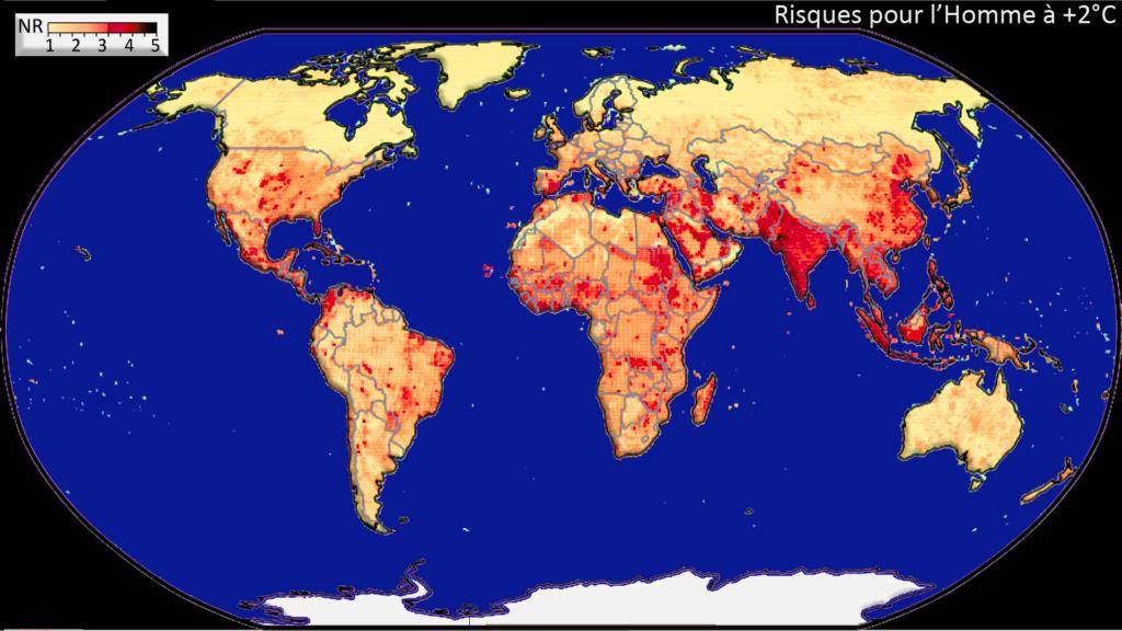 carte mondiale des risques liés au réchauffement climatique