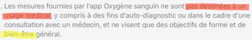 Apple Watch 6 : oxymètre non-médical