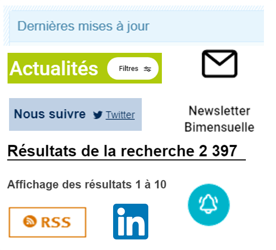exemples de moyens de veille sur intenet : newsletter, flux rss, pages infos...